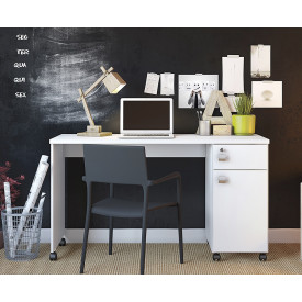 Mesa Para Computador Office Malta Lukaliam Branco Brilho