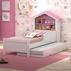 conjunto-cama-solteiro-casinha-princesa-auxiliar-branca-rosa-ofertamo