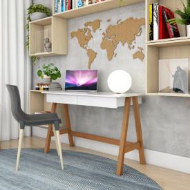 Escrivaninha Old Tebarrot Branco Amêndoa 2 Gavetas Office