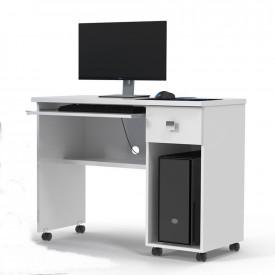 Mesa Para Computador Office Vicenza Lukaliam Branco Brilho