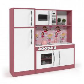 Cozinha Infantil com Refrigerador Diana em MDF Branco/Rosa - Ofertamo