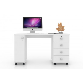 Mesa Para Computador Office Smart Lukaliam Branco Brilho