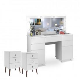 Penteadeira Camarim Clean LED Branco + 2 Mesas de Cabeceira