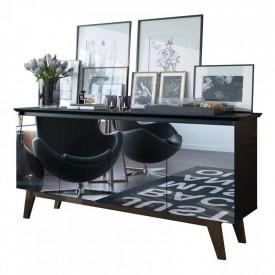 Buffet Classic Imcal Preto Fosco Com Espelho 4 Portas 66547