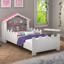 Mini Cama Infantil Casinha Magia Branco/Rosa Vitamov
