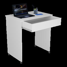 Mesa Escrivaninha Compact Not 0,70 Ofertamo Branco Rodízios e Gaveta