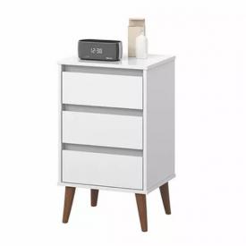 Mesa de Cabeceira Retro Wood Ej Móveis Branco 22300 Quarto
