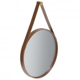 Espelho Redondo 61cm Alça em Couro Sintético marrom Aqua Mais Imcal 6318