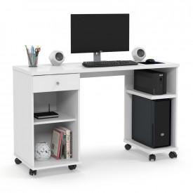 Mesa para Computador Million Branco com Rodízios Escritório Patrimar