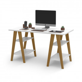 Mesa Escrivaninha Cavalete 1,35x0,66 Tampo 30mm 4 Prateleiras Branco pés em madeira OFERTAMO