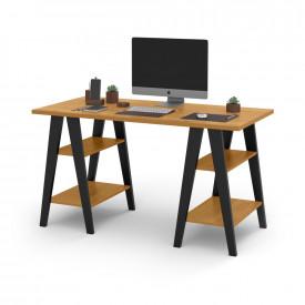 Mesa Escrivaninha Cavalete 1,35x0,66 Tampo 30mm 4 Prateleiras Freijo Pes Madeira Preto OFERTAMO