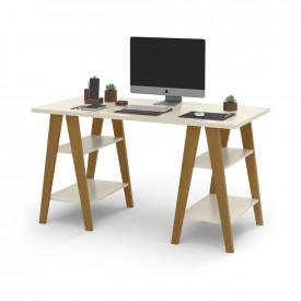 Mesa Escrivaninha Cavalete 1,35x0,66 Tampo 30mm 4 Prateleiras Off White pes em madeira OFERTAMO
