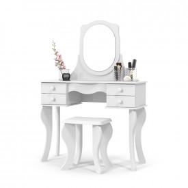 Penteadeira Princesa Branco com Espelho e Banco Patrimar
