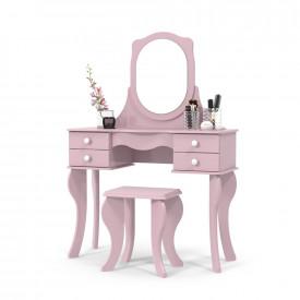 Penteadeira Princesa Rosa com Espelho e Banco Patrimar