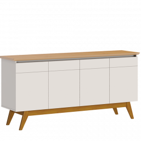 Buffet Classic Imcal 66433 Off White Nature 4 Portas Pé de Madeira