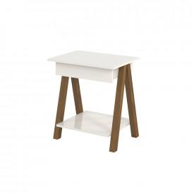 Mesa de cabeceira 1 gaveta integra Finger amadeirado/off white Ofertamo