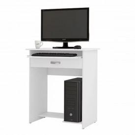 Mesa de Computador Prática Com Gaveta Ej Móveis Branco 6700